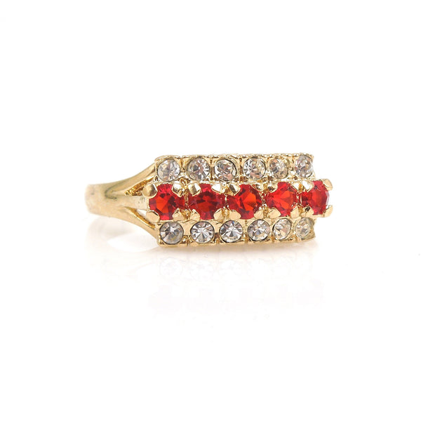 Red-Orange Sapphire and Diamond Ring in Yellow Gold