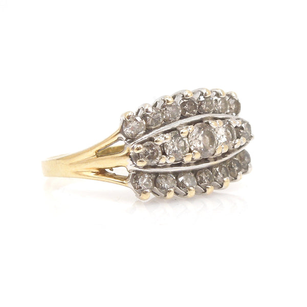 1.01 ctw Three Row Diamond Ring in 14K White Gold and 14K Yellow Gold