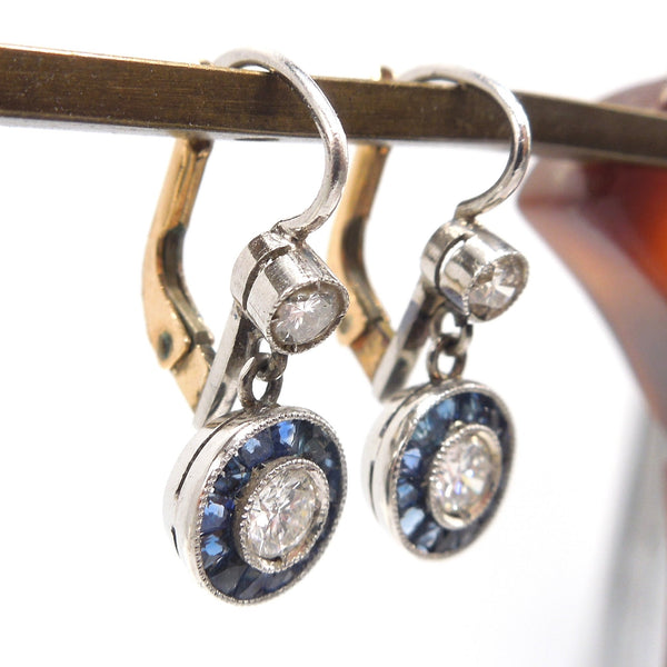 Edwardian Diamond and Sapphire Halo Earrings in Platinum and 18K Yellow Gold