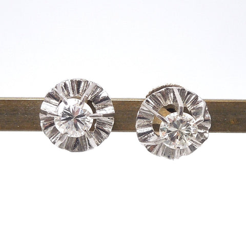 Edwardian Screwback Diamond Buttercup Stud Earrings in 18K Yellow Gold and Platinum