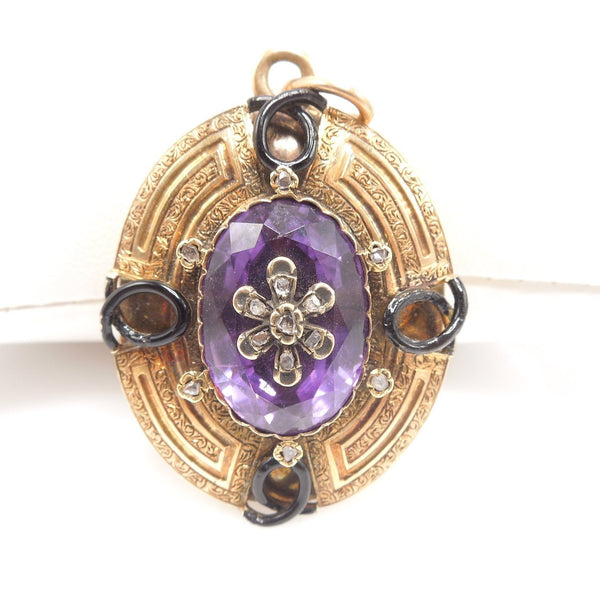 Victorian Amethyst, Enamel, and Diamond Locket in 18K Yellow Gold