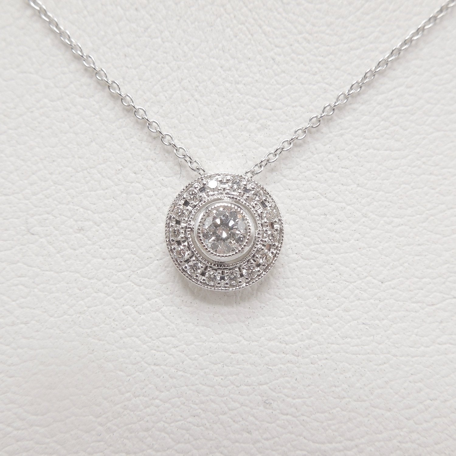 Art Deco Style Diamond and Diamond Halo Necklace and Pendant