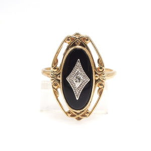 Oval Onyx (with white gold and diamond) in Filigreed Yellow Gold Mounting