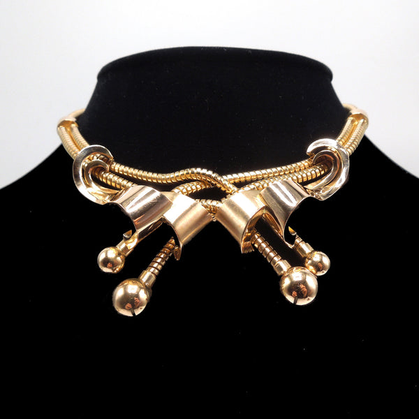 Vintage Retro 18K Yellow Gold Snake Chain Crossover Necklace
