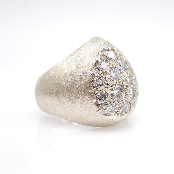 Midcentury Brushed White Gold Ring with Pear Shaped Diamond Cluster
