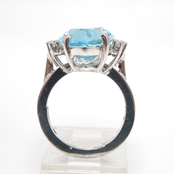 Large 8.00ct Marquise Cut Aquamarine and Diamond Ring in White Gold