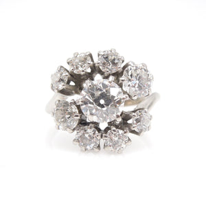 2.20ct Old Mine Cut Diamond Cluster Ring in Platinum