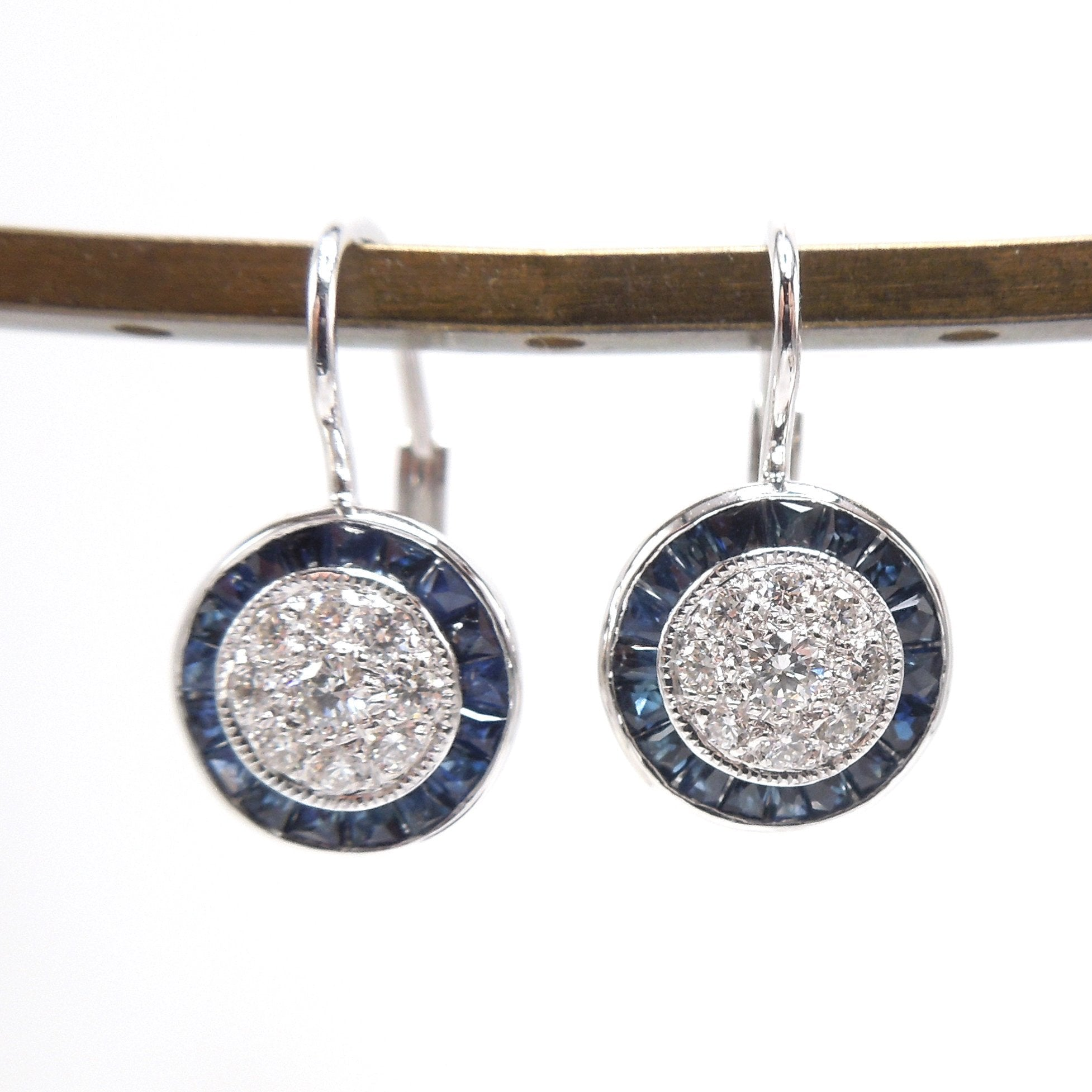 Art Deco Style Diamond Cluster and Sapphire Halo Lever Back Drop Earrings