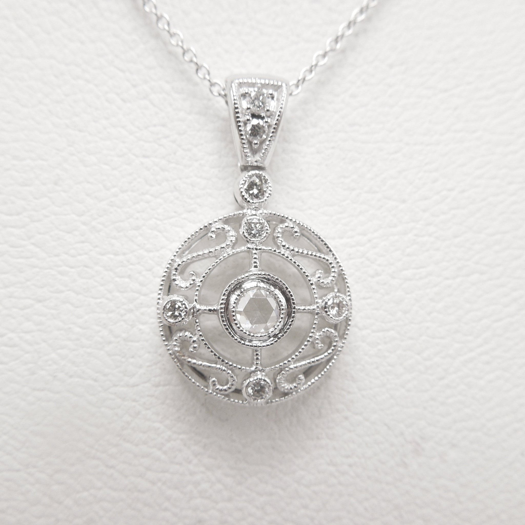 Art Deco Style Rose Cut Diamond Round Filigree Necklace and Pendant