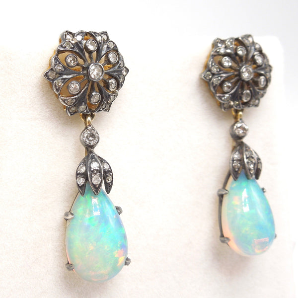 Antique Edwardian Sterling Silver and 18K Yellow Gold Diamond and Natural Opal Drop Earrings
