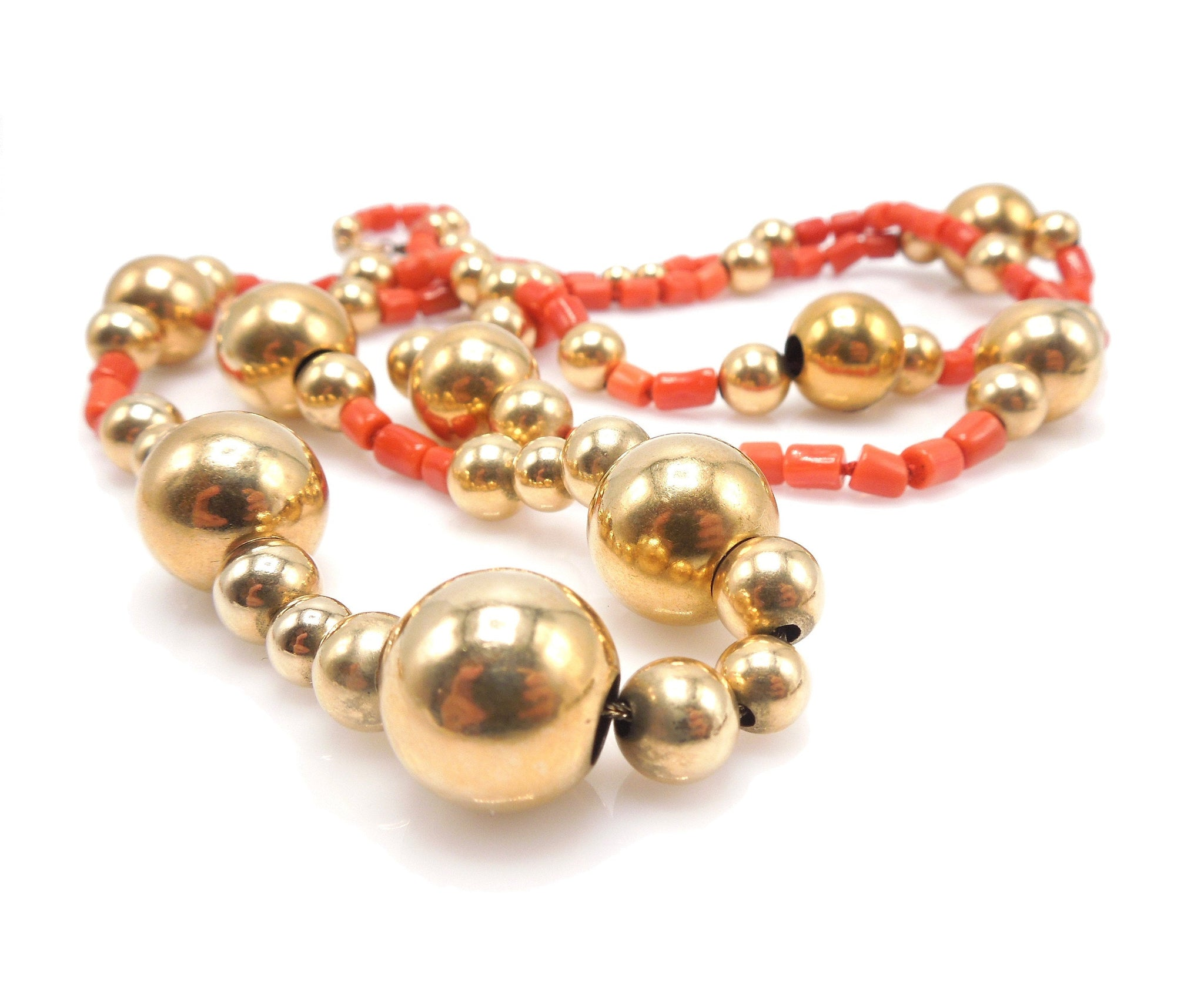 Vintage 14K Yellow Gold and Coral Bead Necklace - 36-inch Long Single Strand