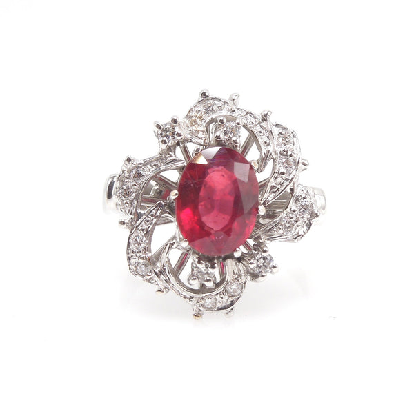 Vintage 1.2ct Ruby and Diamond Cocktail Ring in 18K White Gold