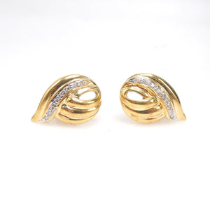 18K Yellow and White Gold Stud Earrings with Diamonds