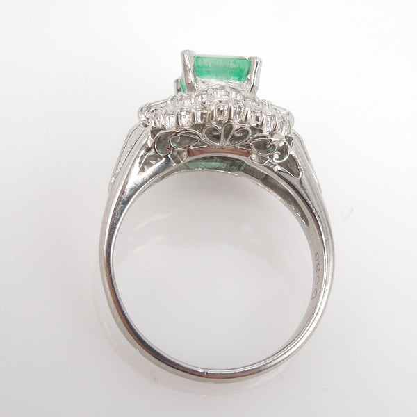1.04ct Natural Square Step Cut Emerald with Diamonds in Platinum Ring