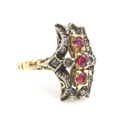 Georgian Style Ring - 18K Yellow Gold and Sterling Silver with Rubies and Rose Cut Diamonds
