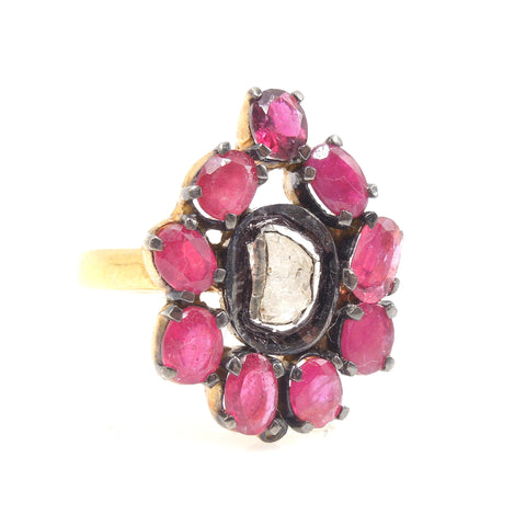 Vermeil Macle Diamond and Ruby Ring - Sterling Silver & Gold