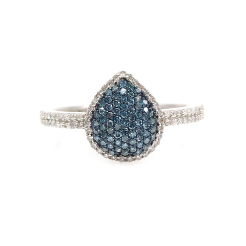 Micro Pave Blue Diamond Cluster Ring in Sterling Silver