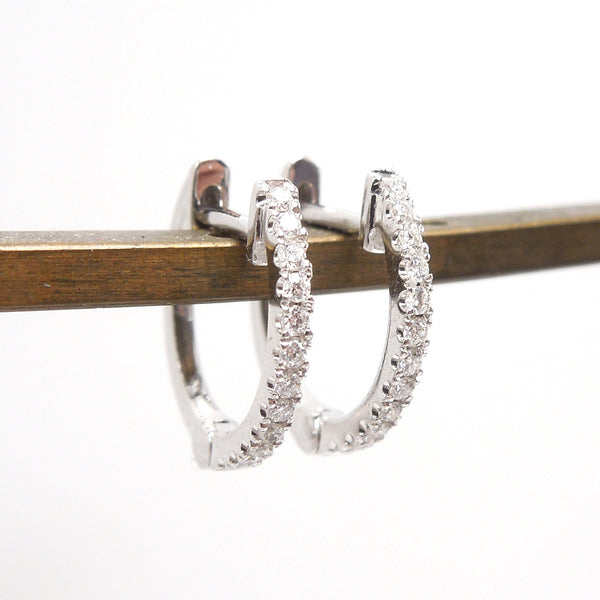 14K White Gold and Diamond Huggies - Petite Hoop Earrings