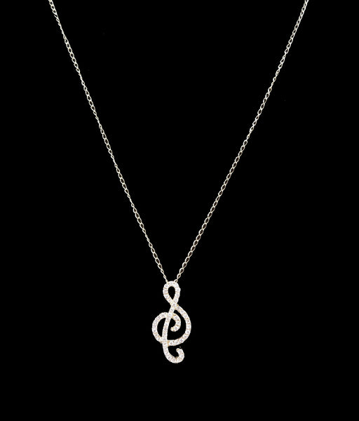 18K Yellow Gold and Diamond Treble Clef Necklace