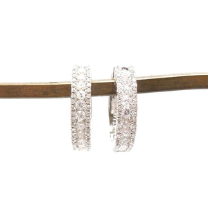 Half Carat Diamond and 14K White Gold Hoop Earrings