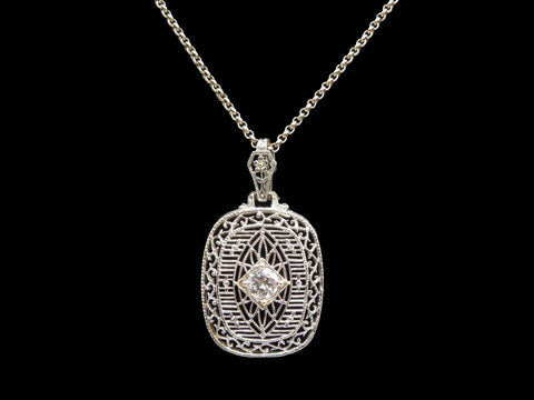 Art Deco White Gold and Quarter Carat Diamond Filigree Pendant Necklace