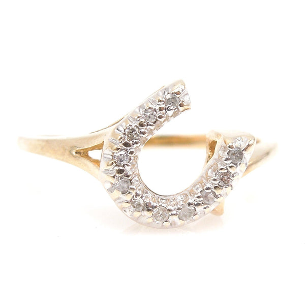 Yellow Gold and Diamond Horseshoe Ring