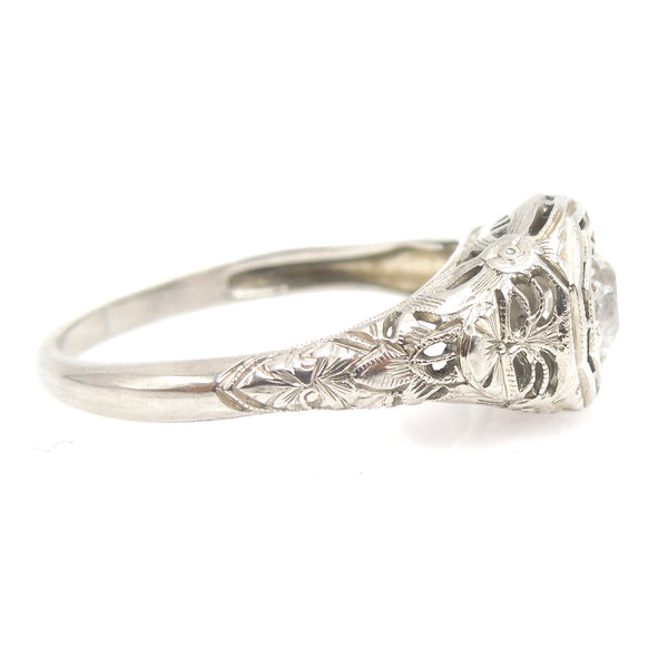 Art Deco/Edwardian 0.60ct Diamond Engagement Ring in 18K White Gold
