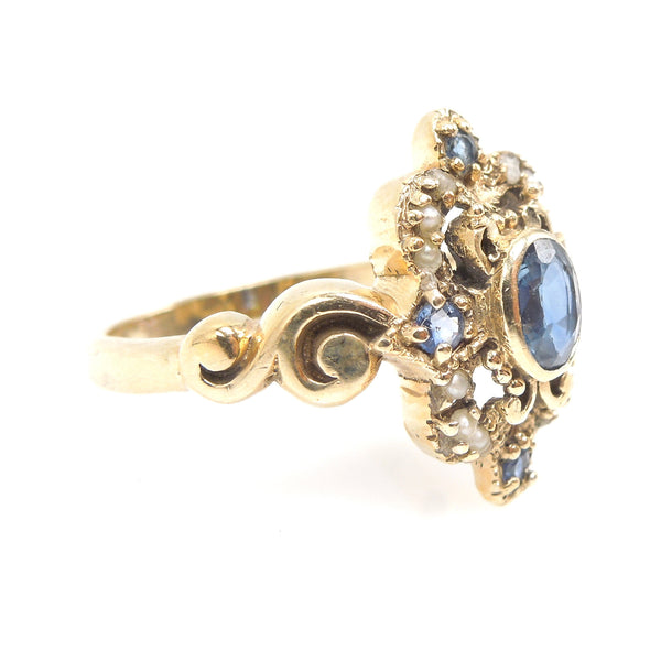 Victorian Sapphire and Seed Pearl Ring in Yellow Gold