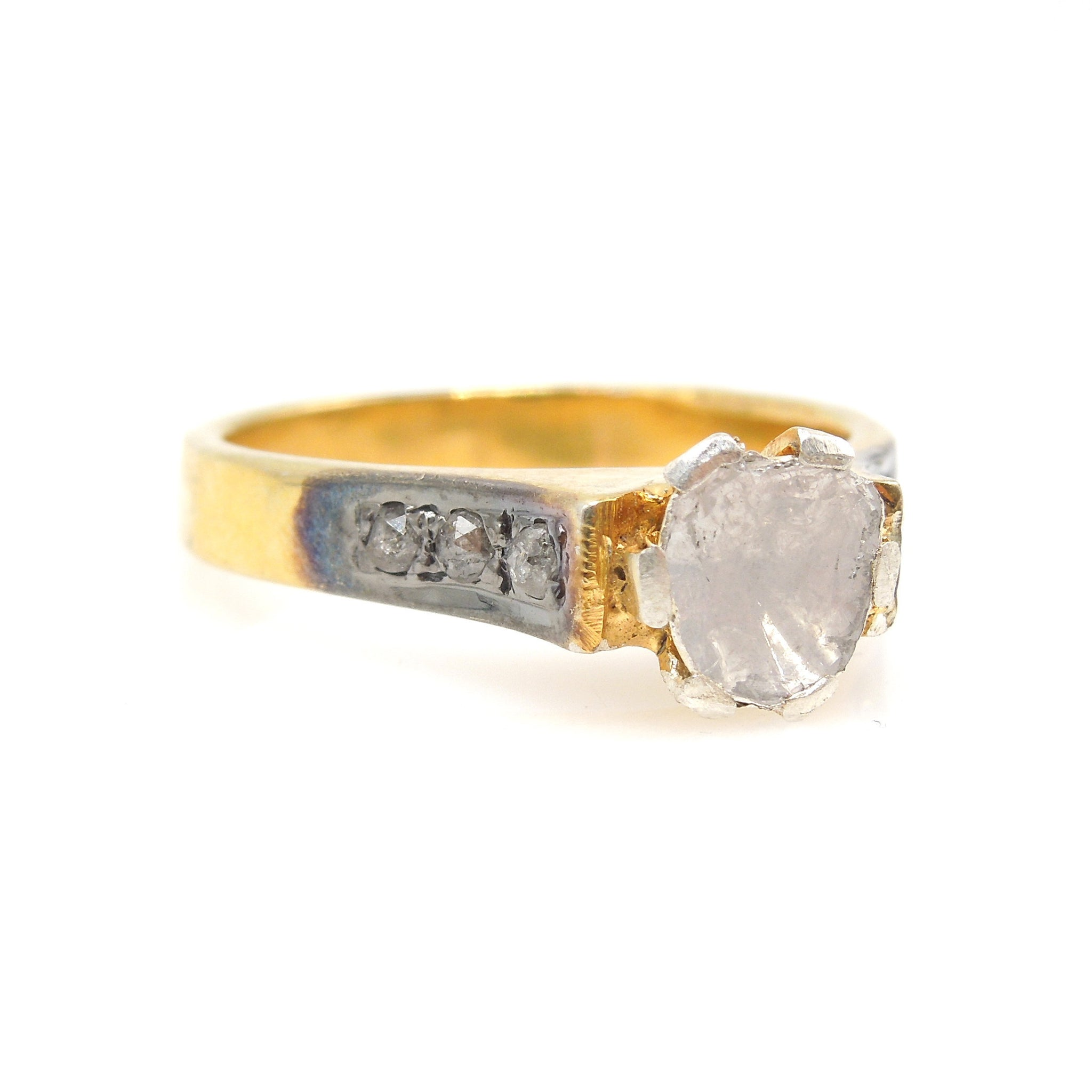 Vermeil Macle Salt and Pepper Diamond Ring - Gold and Silver