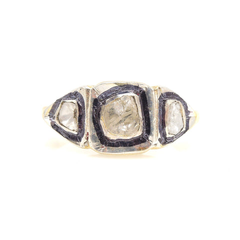 Macle Diamond Three Stone Ring - in Vermeil & Sterling Silver