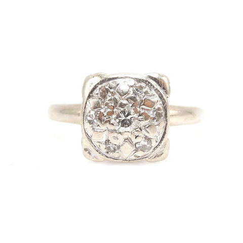 1940s 14K White Gold Diamond Cluster Engagement Ring