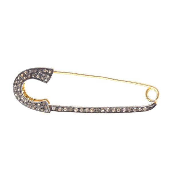 Large Vermeil and Oxidized Sterling Silver Diamond Safety Pin