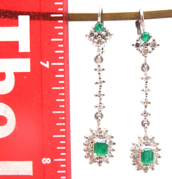 14K White Gold Diamond and Colombian Emerald Drop Earrings