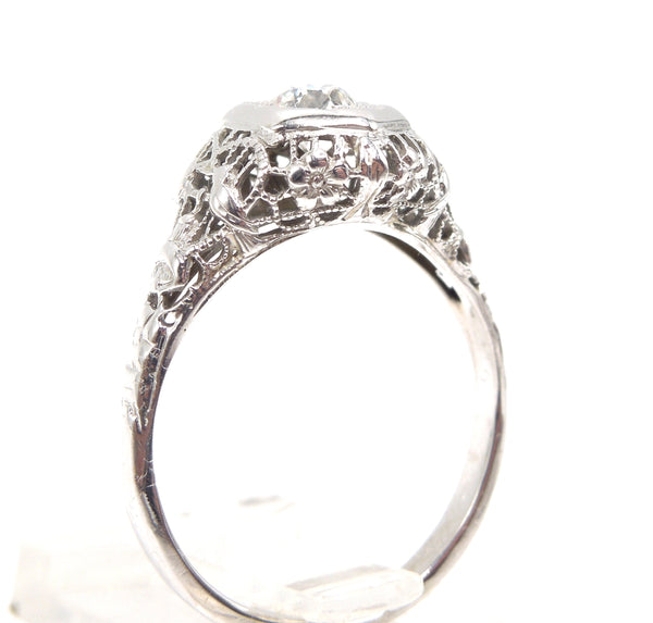 Art Deco White Gold & Diamond Engagement Ring - Half Carat European Cut