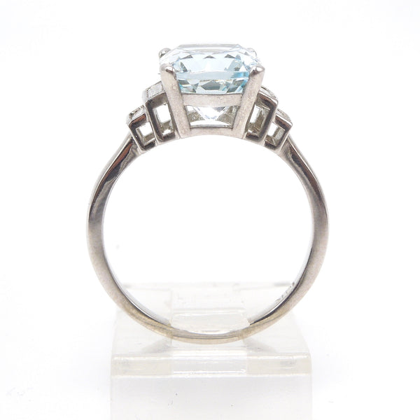 Art Deco Style Ring - Antique Oval Cut Aquamarine with Baguettes in White Gold