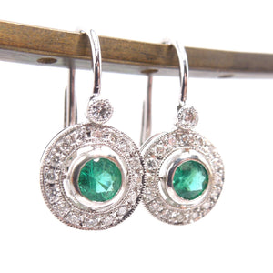 14K White Gold Emerald and Diamond Halo Lever Back Drop Earrings