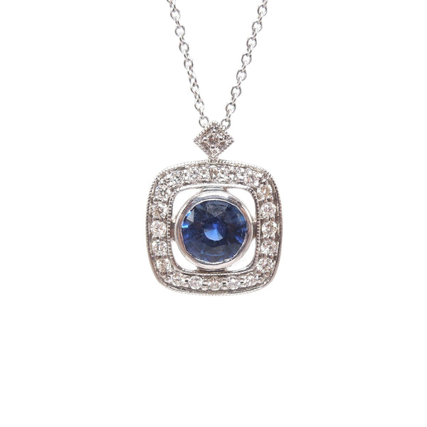 Art Deco Style Sapphire and Diamond White Gold Pendant and Necklace
