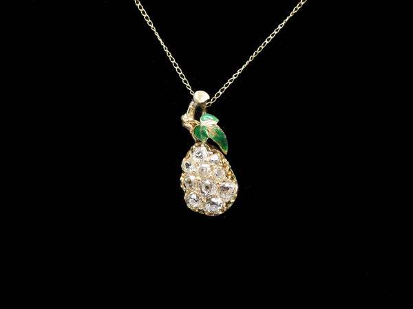 Antique Victorian Yellow Gold and Enamel Pear Pendant with Old Mine Cut Diamonds