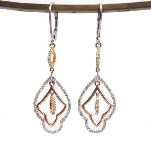 Tricolor Gold and Diamond Earrings in Sterling Silver - Rose Gold Plate, Yellow Gold Plate