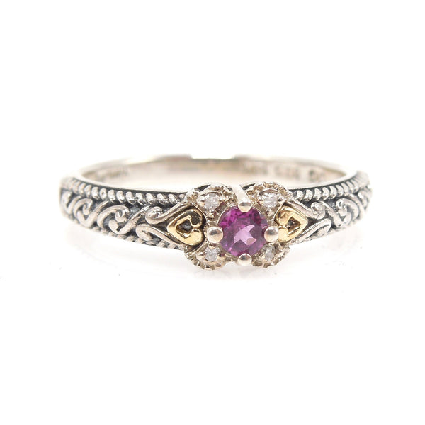 Sterling Silver and Gold Plate Rhodolite Garnet and Diamond Band