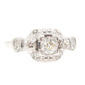 Antique Platinum and Third of a Carat European Cut Diamond Engagement Ring