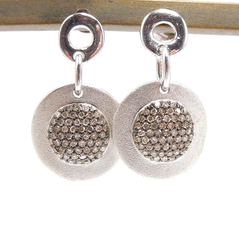 Matte Finished Sterling Silver Disc Earrings with Brown Diamonds