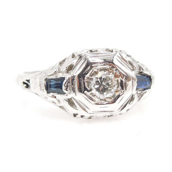 Art Deco Diamond and 18K White Gold Ring with Baguette Sapphire Accents