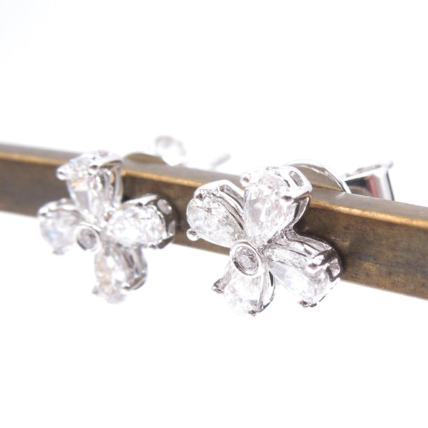14K White Gold and Pear Shaped Diamond Flower Shaped Stud Earrings
