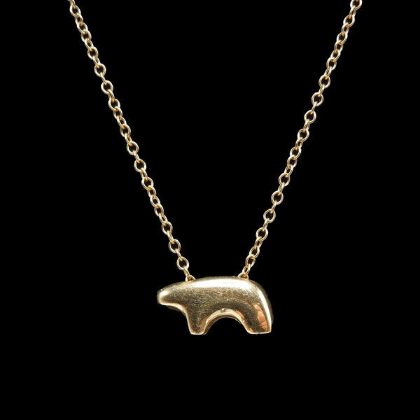 Stylized Navajo Bear Necklace in 14K Yellow Gold