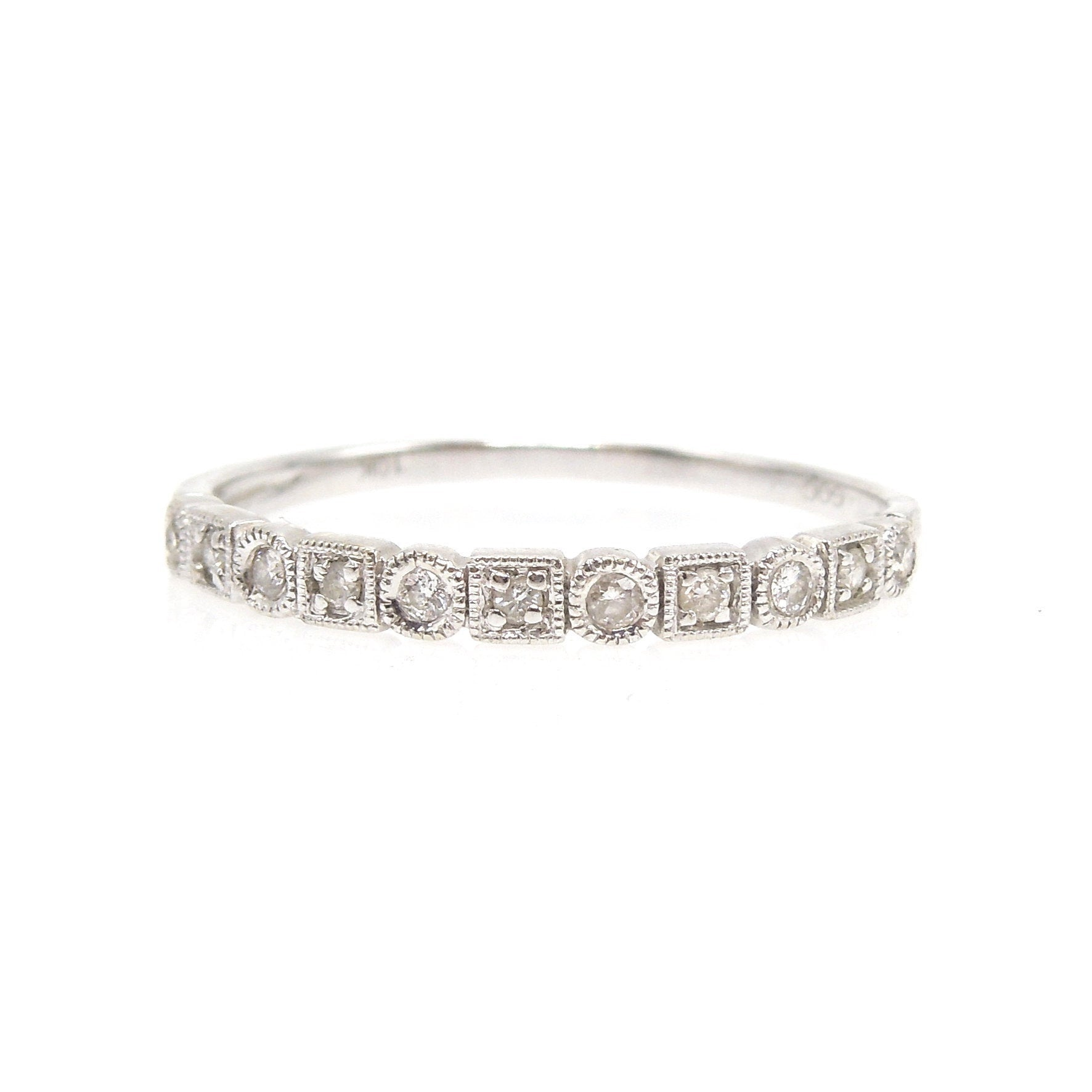 White Gold Alternating Round and Square Bezel Diamond Band