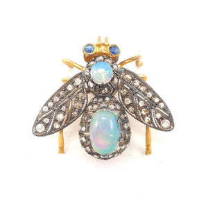Gilded and Oxidized Sterling Silver Bee Pin/Pendant with Opals, Diamonds, and Sapphires