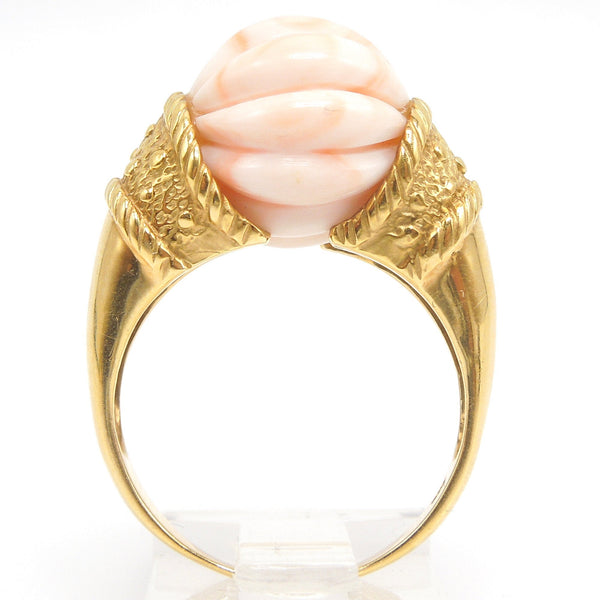Pink Coral Statement Ring in 18K Yellow Gold