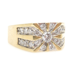 Gentleman's 14K Yellow Gold and Diamond Ring - Quarter Carat with Radiating Diamonds
