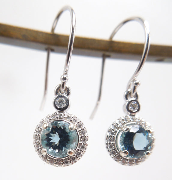 Aquamarine and Diamond Halo Drop Earrings in 14K White Gold
